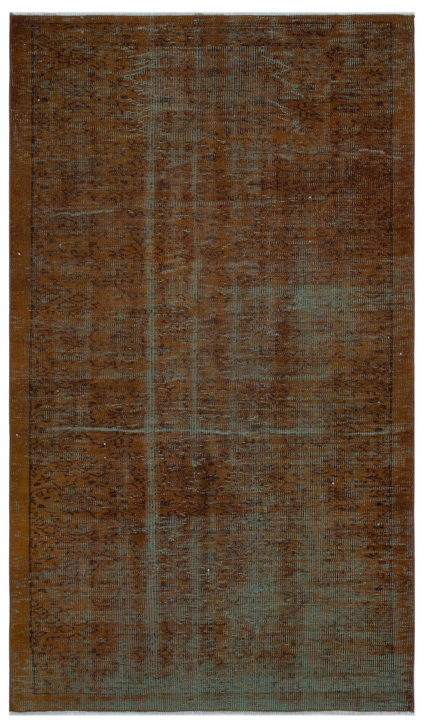 Brown Over Dyed Vintage Rug 4'9'' x 8'2'' ft 145 x 250 cm