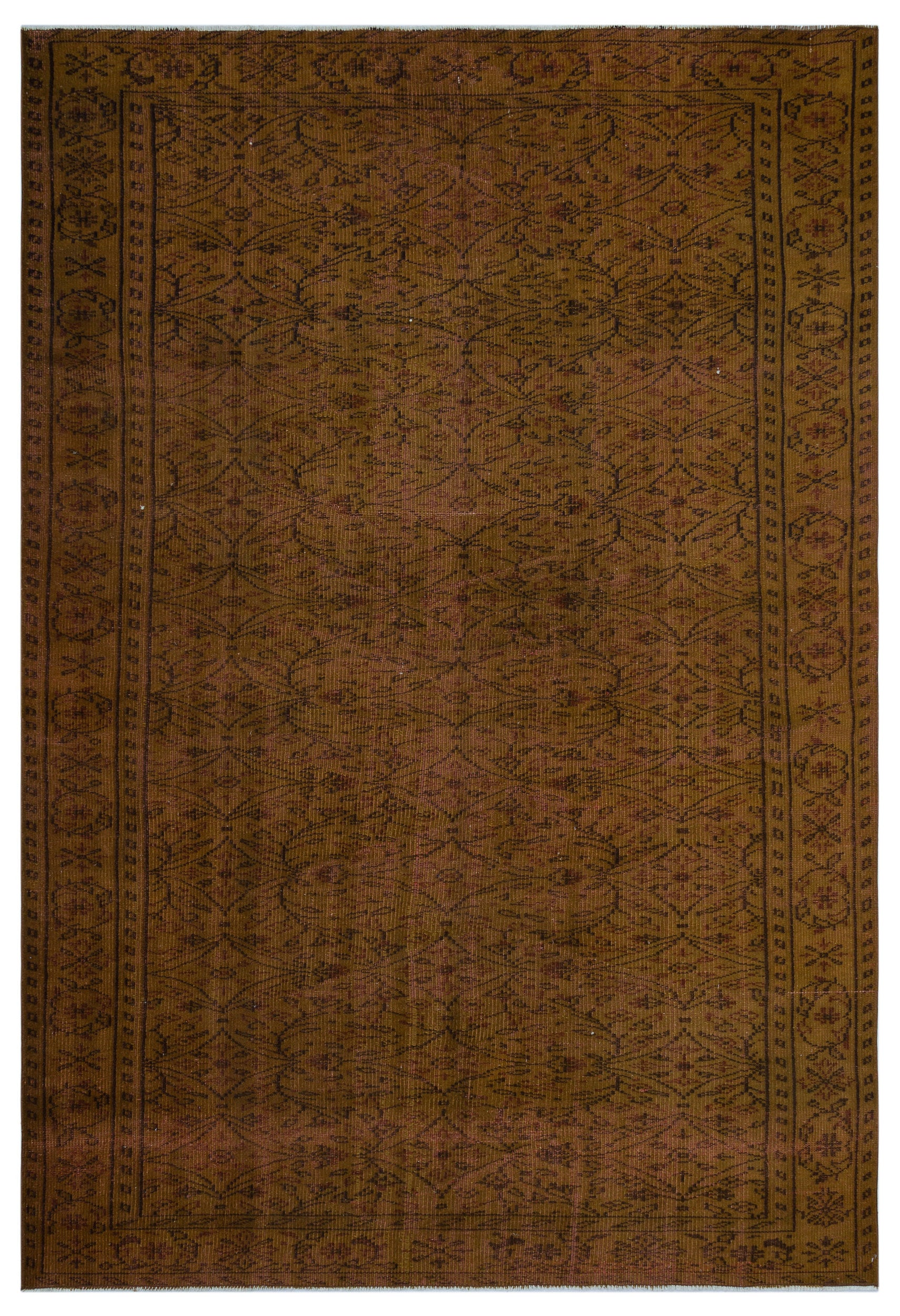 Brown Over Dyed Vintage Rug 6'0'' x 8'11'' ft 184 x 272 cm