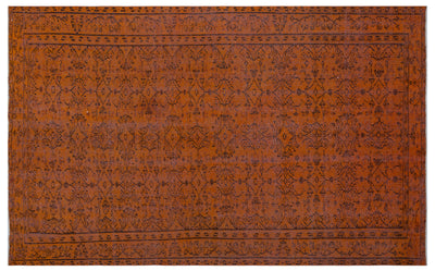 Brown Over Dyed Vintage Rug 5'5'' x 8'9'' ft 165 x 266 cm