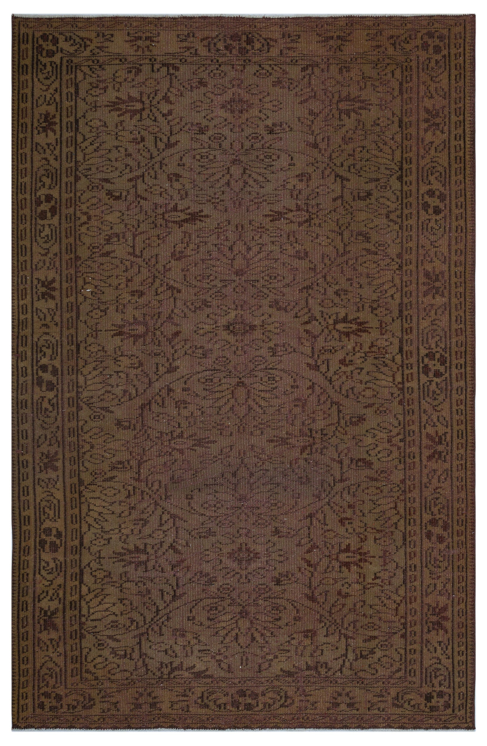 Brown Over Dyed Vintage Rug 5'9'' x 8'8'' ft 174 x 264 cm