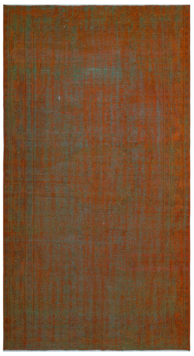 Brown Over Dyed Vintage Rug 5'3'' x 9'7'' ft 160 x 292 cm