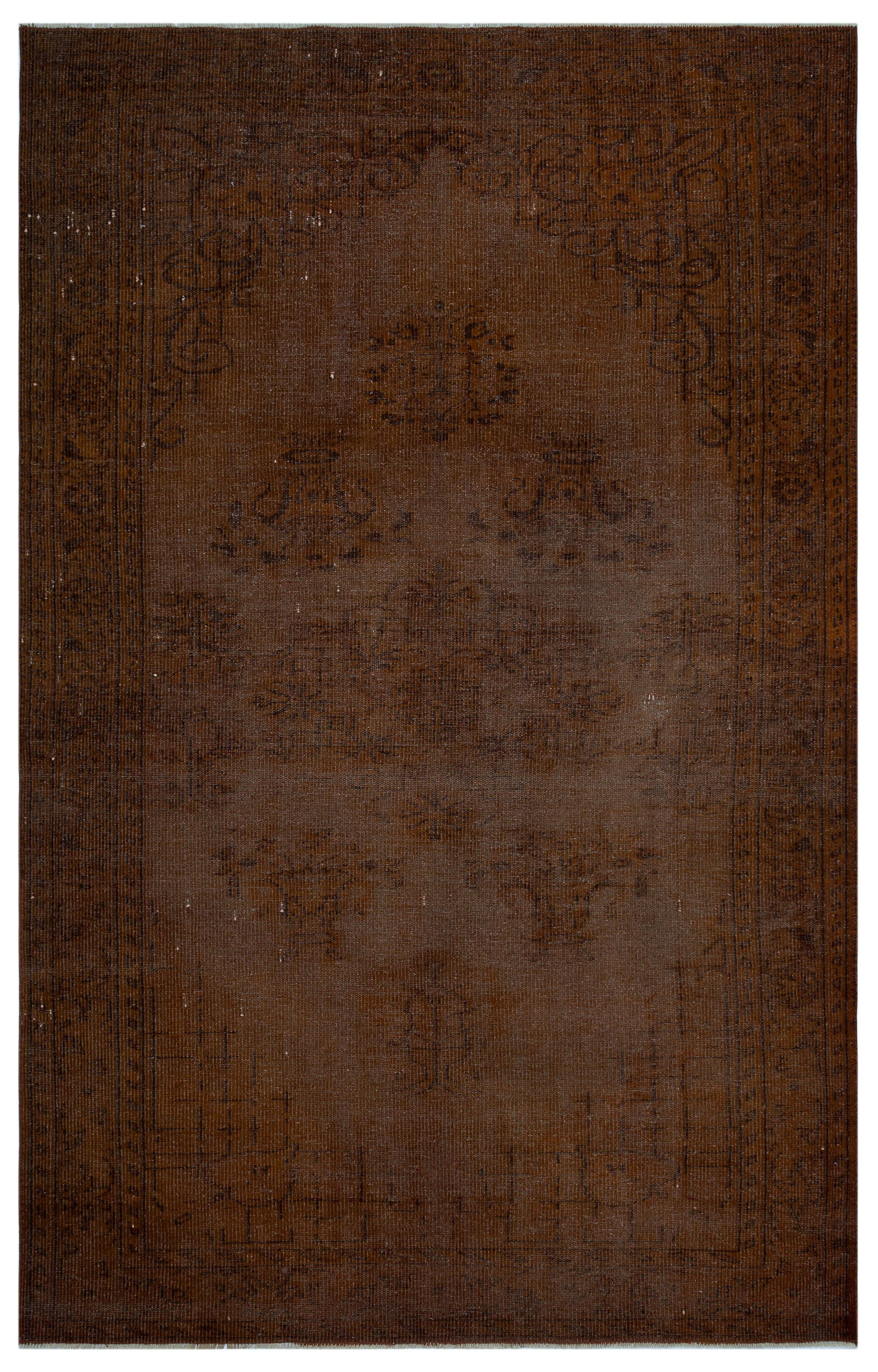 Brown Over Dyed Vintage Rug 6'1'' x 9'4'' ft 185 x 285 cm