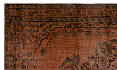 Brown Over Dyed Vintage Rug 4'11'' x 8'4'' ft 151 x 254 cm
