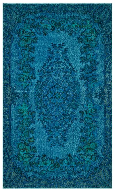 Turquoise  Over Dyed Carved Rug 5'5'' x 8'11'' ft 164 x 271 cm