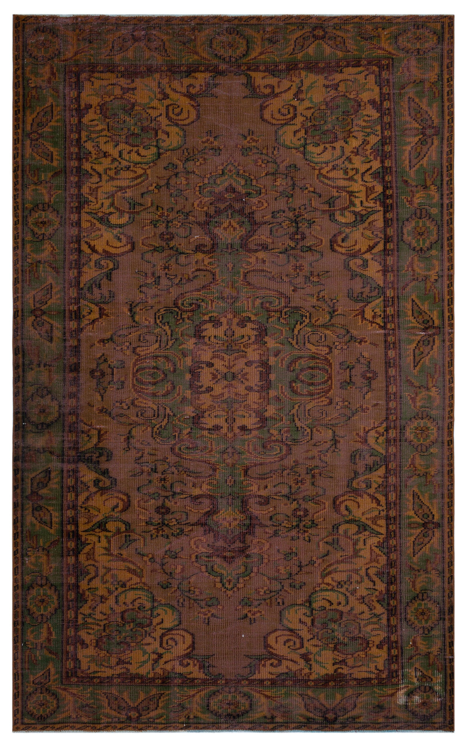 Brown Over Dyed Vintage Rug 5'8'' x 9'3'' ft 173 x 282 cm