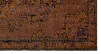 Brown Over Dyed Vintage Rug 5'3'' x 10'0'' ft 160 x 306 cm