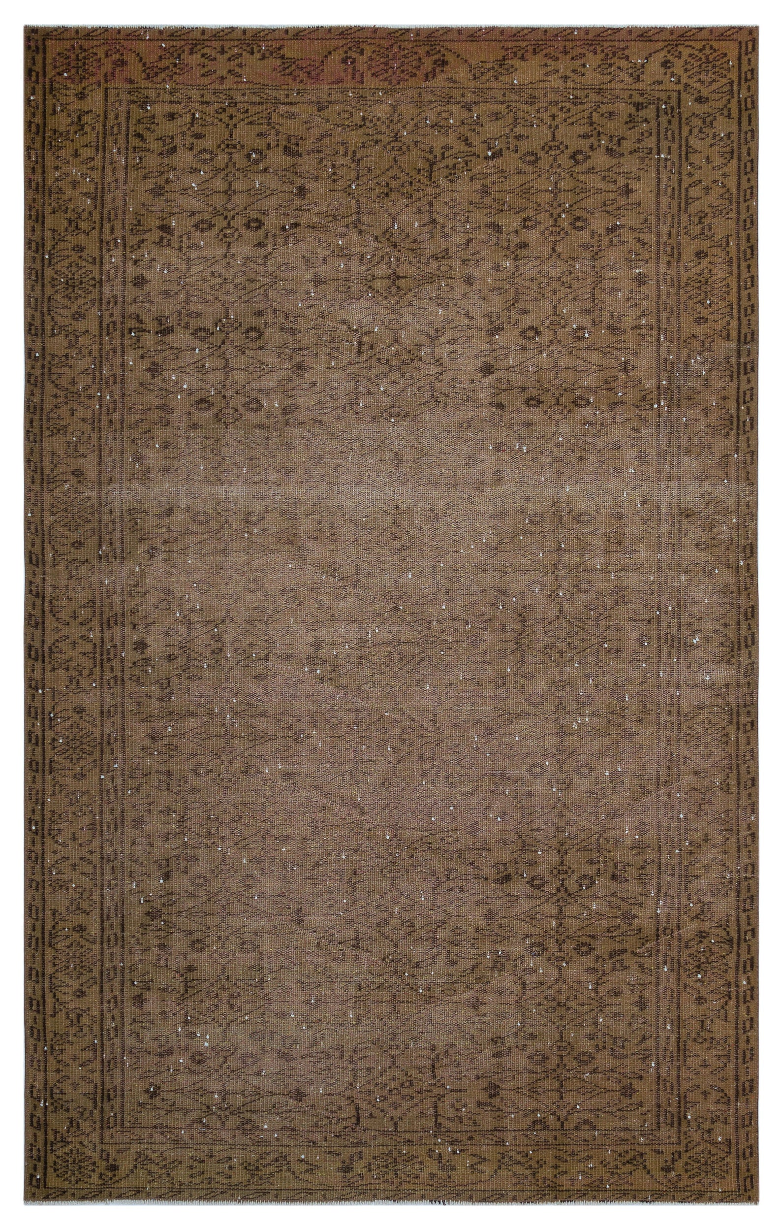 Brown Over Dyed Vintage Rug 5'3'' x 8'6'' ft 160 x 258 cm