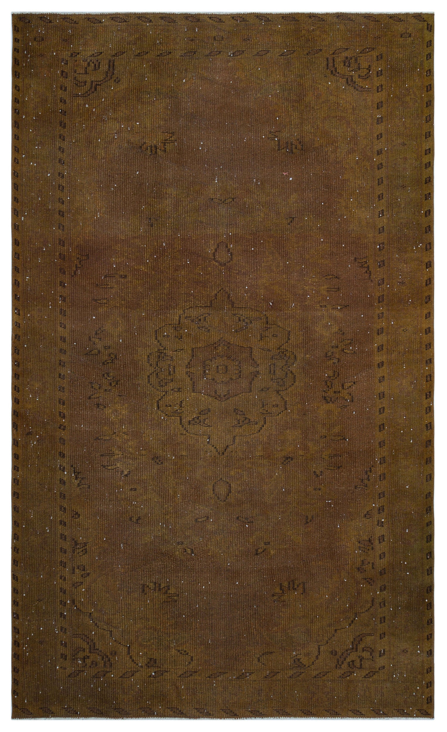 Brown Over Dyed Vintage Rug 5'4'' x 8'10'' ft 163 x 270 cm