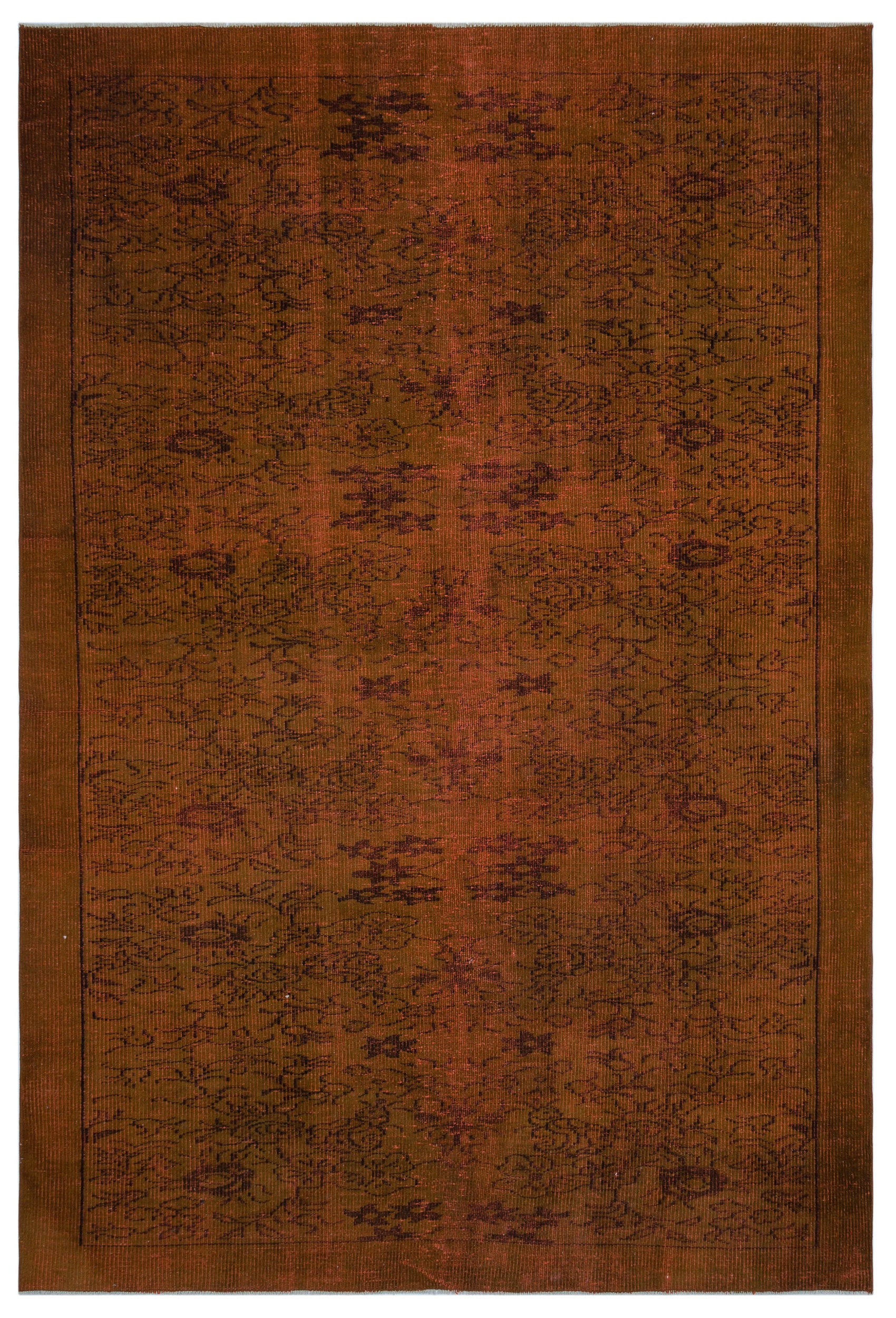 Brown Over Dyed Vintage Rug 6'2'' x 9'1'' ft 187 x 278 cm
