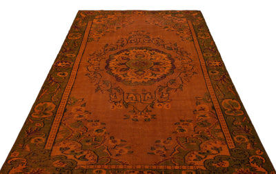 Orange Over Dyed Vintage Rug 5'7'' x 8'6'' ft 170 x 259 cm