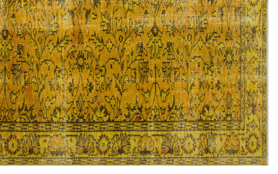 Yellow Over Dyed Vintage Rug 5'7'' x 8'11'' ft 169 x 272 cm