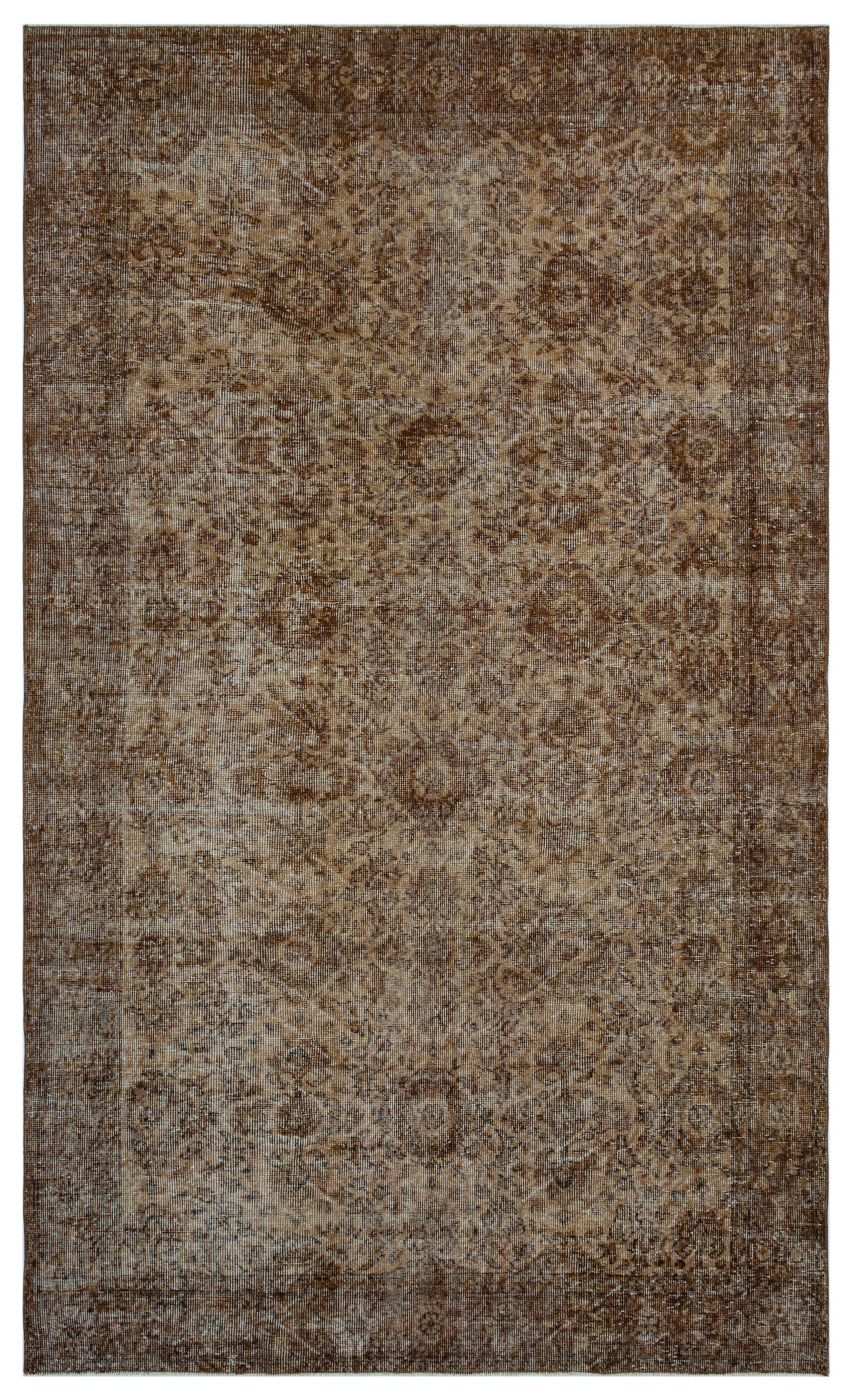 Brown Over Dyed Vintage Rug 5'7'' x 9'3'' ft 170 x 282 cm