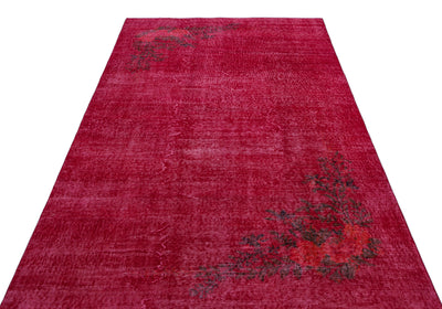 Red Over Dyed Vintage Rug 5'1'' x 8'8'' ft 155 x 264 cm