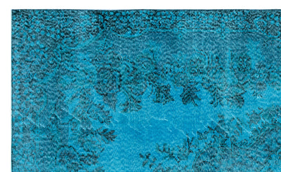 Turquoise  Over Dyed Vintage Rug 5'6'' x 9'1'' ft 167 x 276 cm