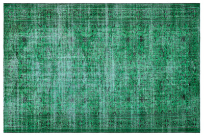 Green Over Dyed Vintage Rug 6'6'' x 9'7'' ft 197 x 292 cm