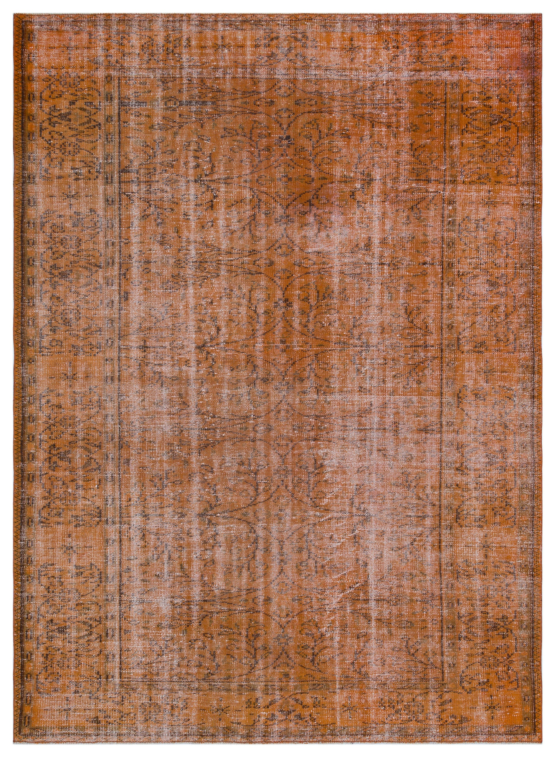 Brown Over Dyed Vintage Rug 6'1'' x 8'5'' ft 186 x 256 cm