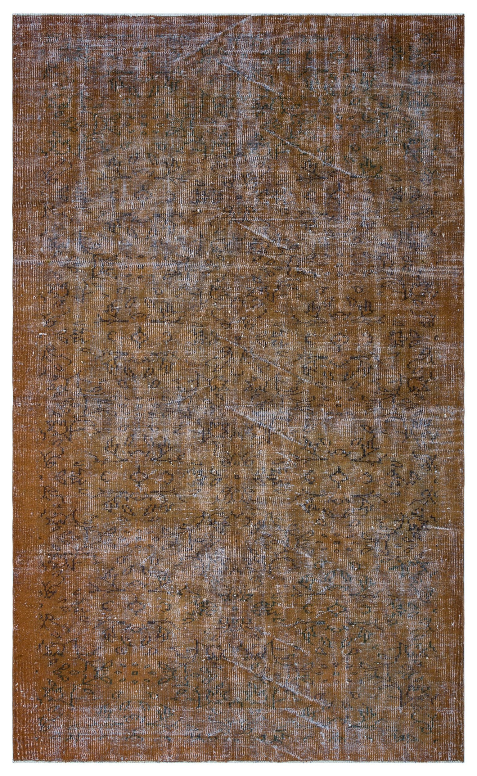 Brown Over Dyed Vintage Rug 5'10'' x 9'9'' ft 178 x 296 cm
