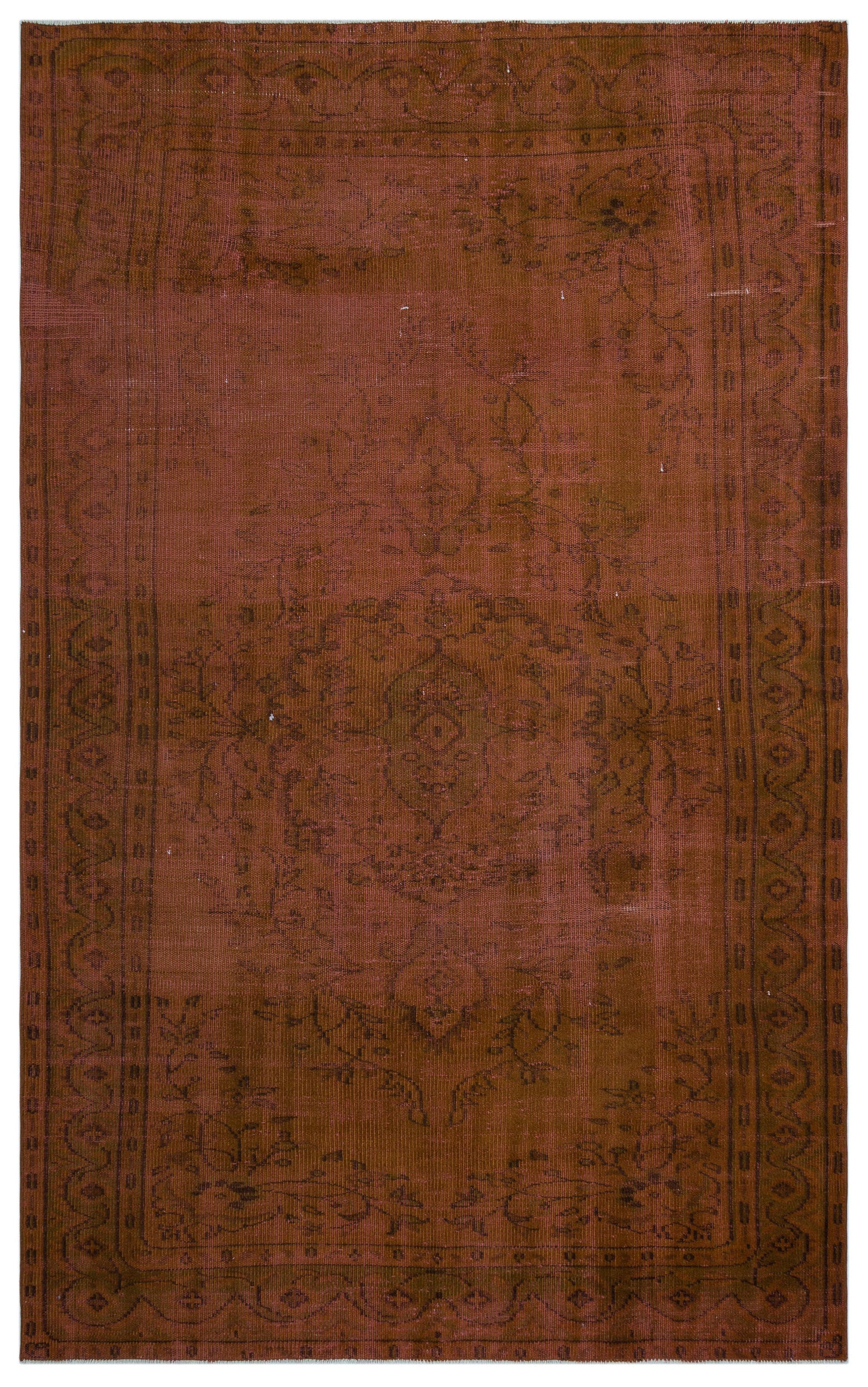 Brown Over Dyed Vintage Rug 5'10'' x 9'7'' ft 178 x 291 cm