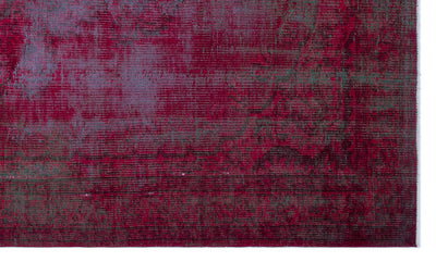 Red Over Dyed Vintage Rug 4'10'' x 8'4'' ft 147 x 255 cm