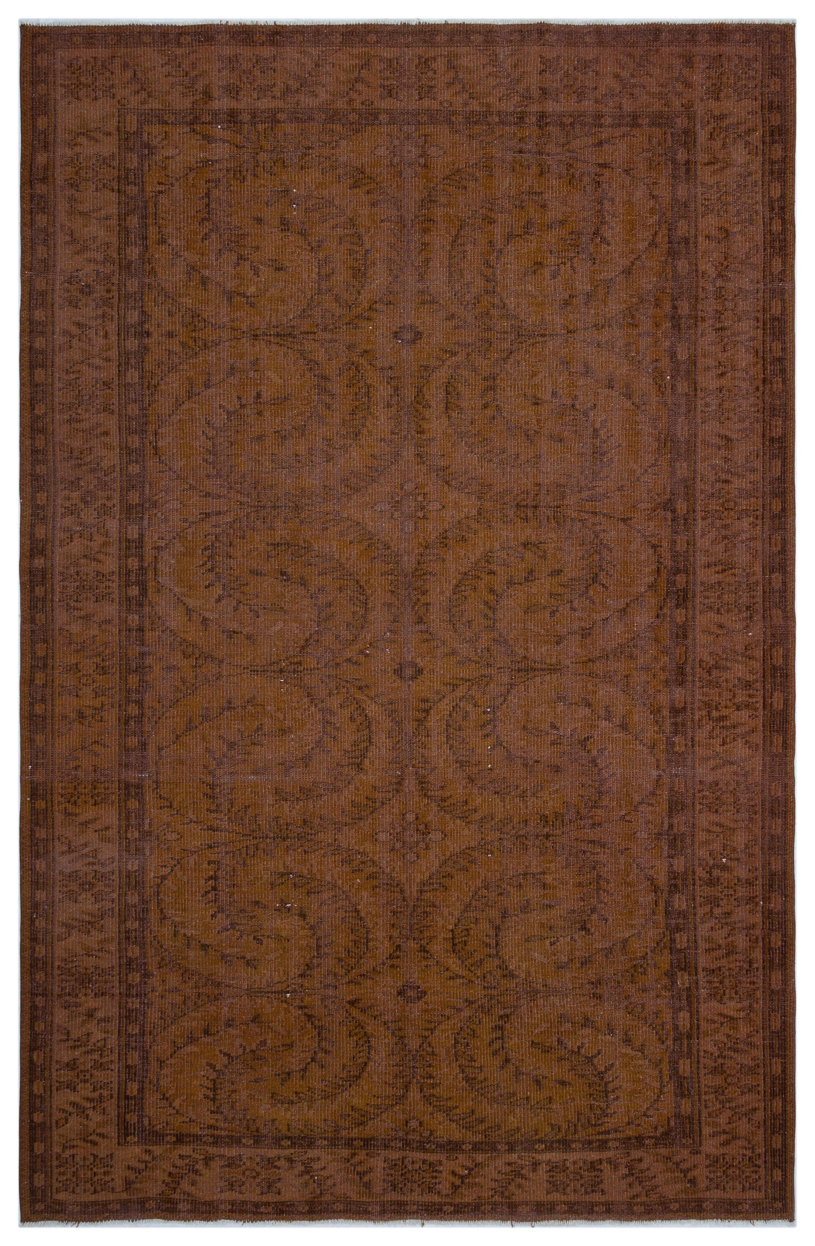 Brown Over Dyed Vintage Rug 6'4'' x 9'3'' ft 194 x 283 cm
