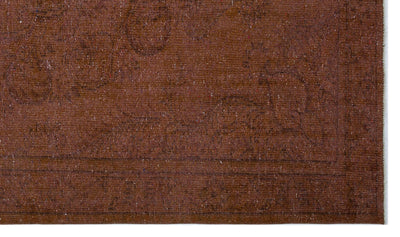 Brown Over Dyed Vintage Rug 5'5'' x 9'3'' ft 164 x 282 cm