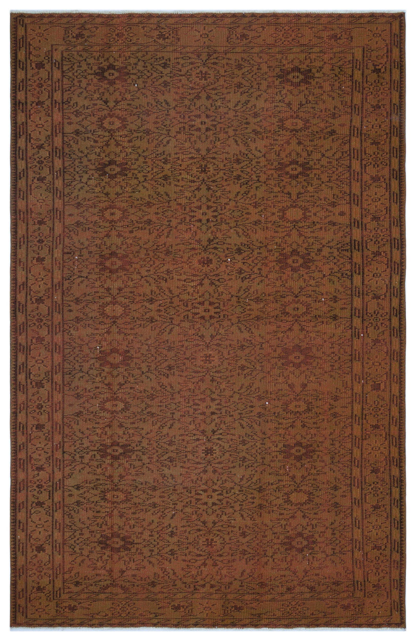 Brown Over Dyed Vintage Rug 5'9'' x 8'9'' ft 174 x 267 cm