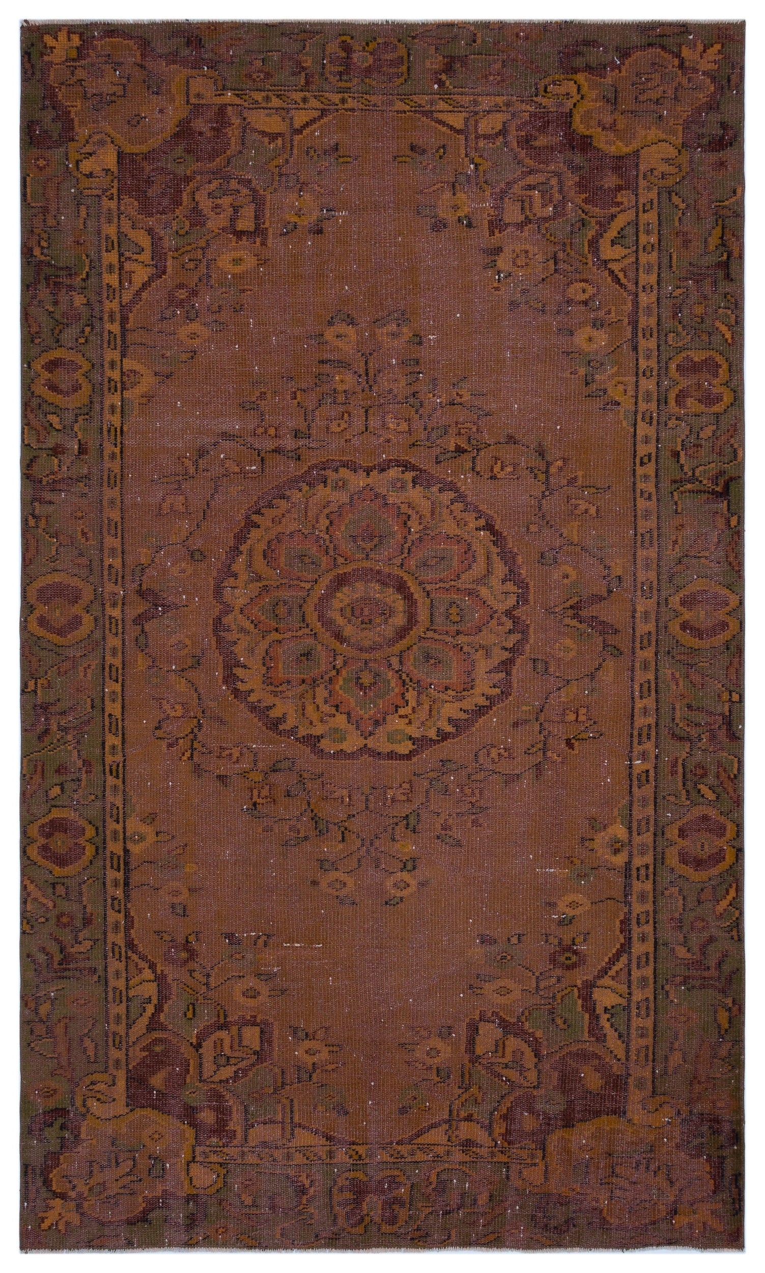 Brown Over Dyed Vintage Rug 5'7'' x 9'1'' ft 171 x 278 cm