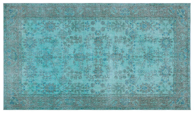 Turquoise  Over Dyed Vintage Rug 5'1'' x 8'8'' ft 154 x 265 cm
