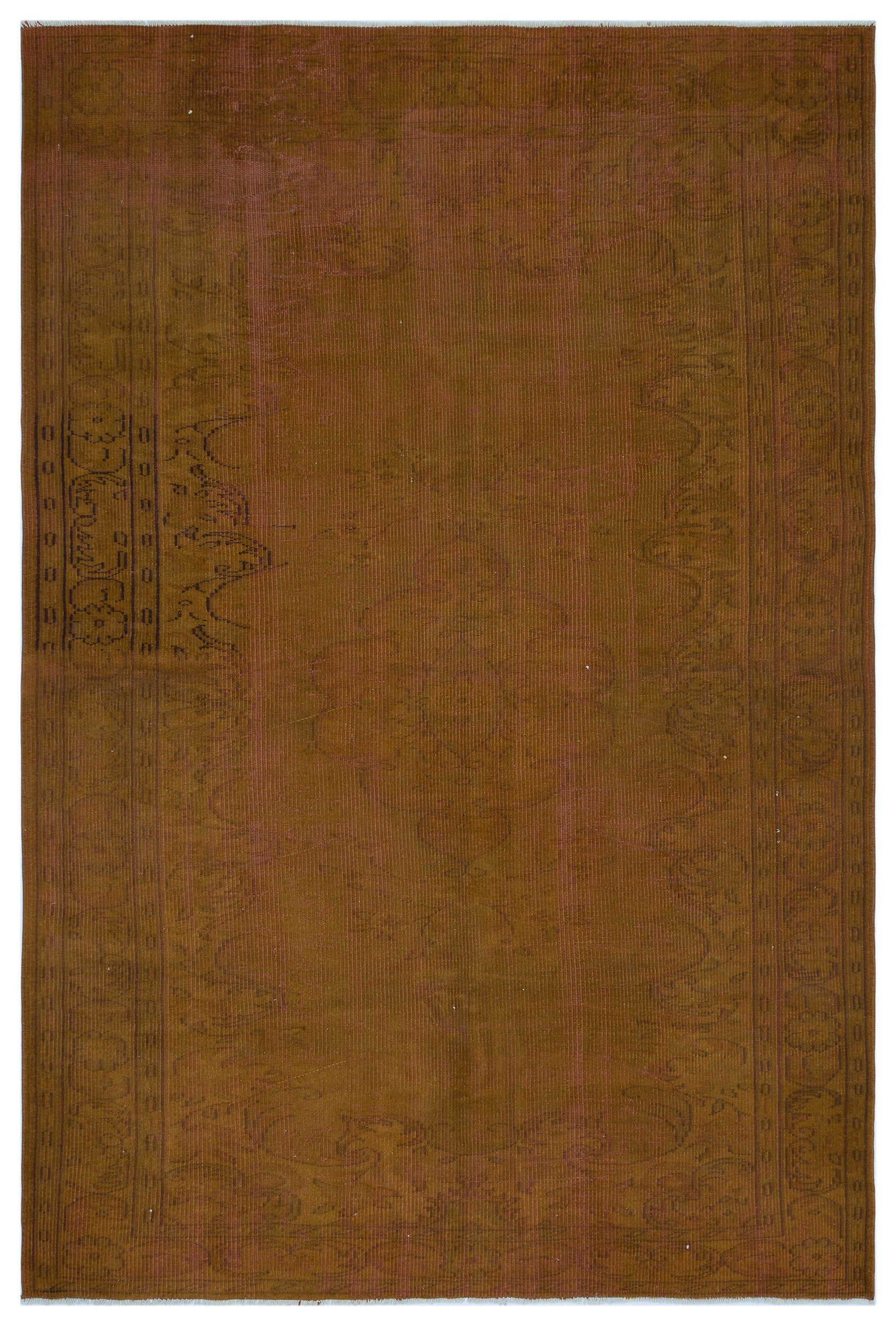 Brown Over Dyed Vintage Rug 6'4'' x 8'12'' ft 192 x 274 cm