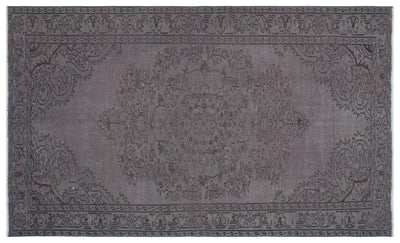Gray Over Dyed Vintage Rug 5'8'' x 9'2'' ft 173 x 280 cm