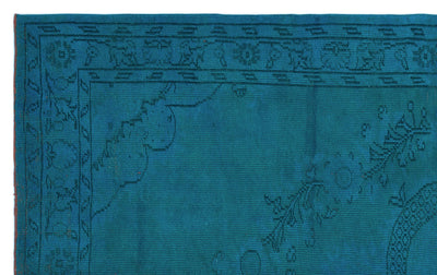 Turquoise  Over Dyed Vintage Rug 5'7'' x 8'11'' ft 170 x 273 cm