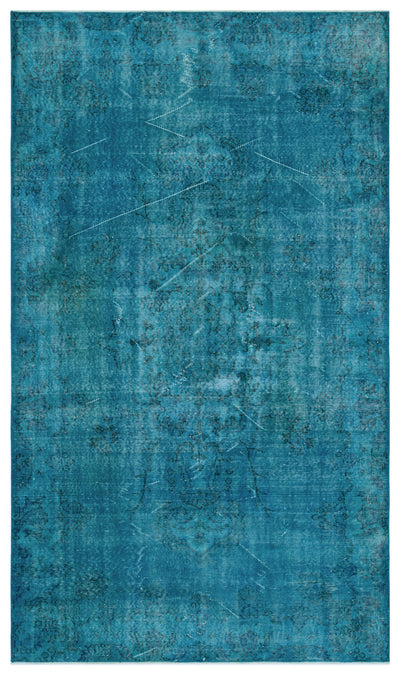 Turquoise  Over Dyed Vintage Rug 5'5'' x 9'3'' ft 166 x 281 cm