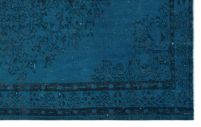 Turquoise  Over Dyed Vintage Rug 5'7'' x 8'8'' ft 169 x 263 cm