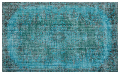 Turquoise  Over Dyed Vintage Rug 5'5'' x 8'11'' ft 165 x 271 cm