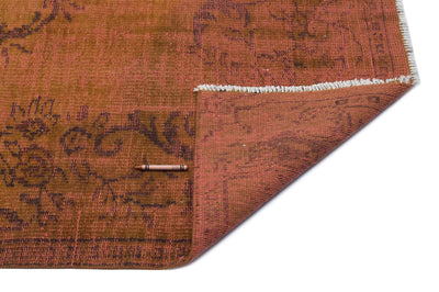 Brown Over Dyed Vintage Rug 5'2'' x 9'3'' ft 158 x 282 cm