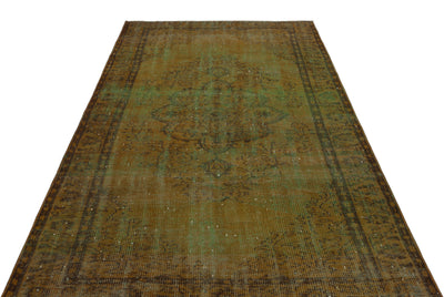 Brown Over Dyed Vintage Rug 5'4'' x 8'9'' ft 163 x 267 cm