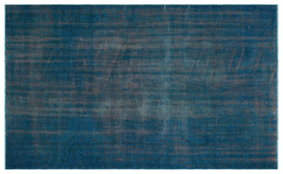 Turquoise  Over Dyed Vintage Rug 5'4'' x 8'8'' ft 162 x 265 cm