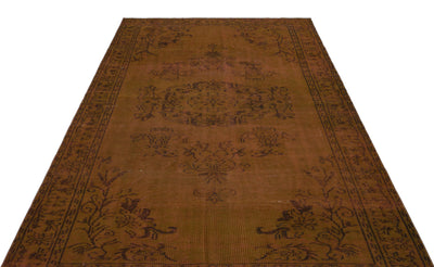 Brown Over Dyed Vintage Rug 5'8'' x 8'9'' ft 172 x 267 cm