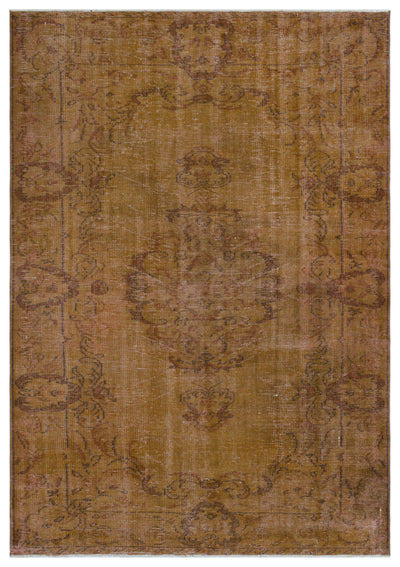 Brown Over Dyed Vintage Rug 5'11'' x 8'5'' ft 181 x 257 cm