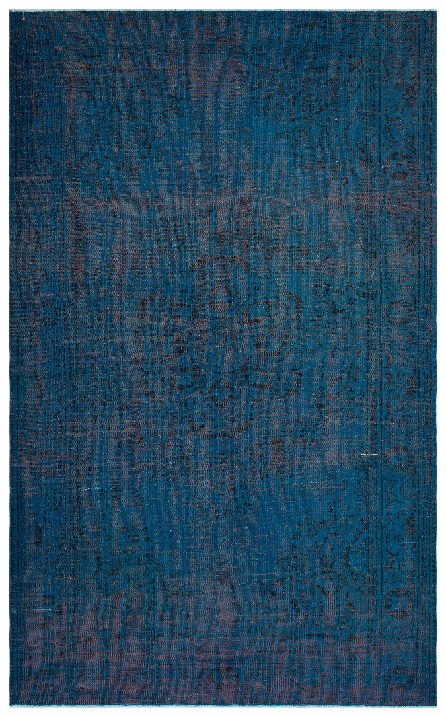 Turquoise  Over Dyed Vintage Rug 6'0'' x 9'10'' ft 183 x 300 cm