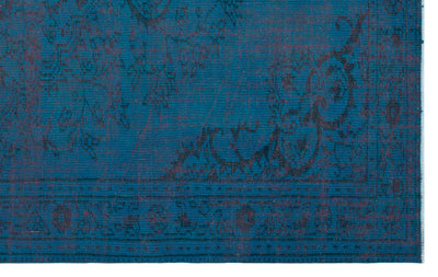 Turquoise  Over Dyed Vintage Rug 4'11'' x 8'1'' ft 151 x 247 cm