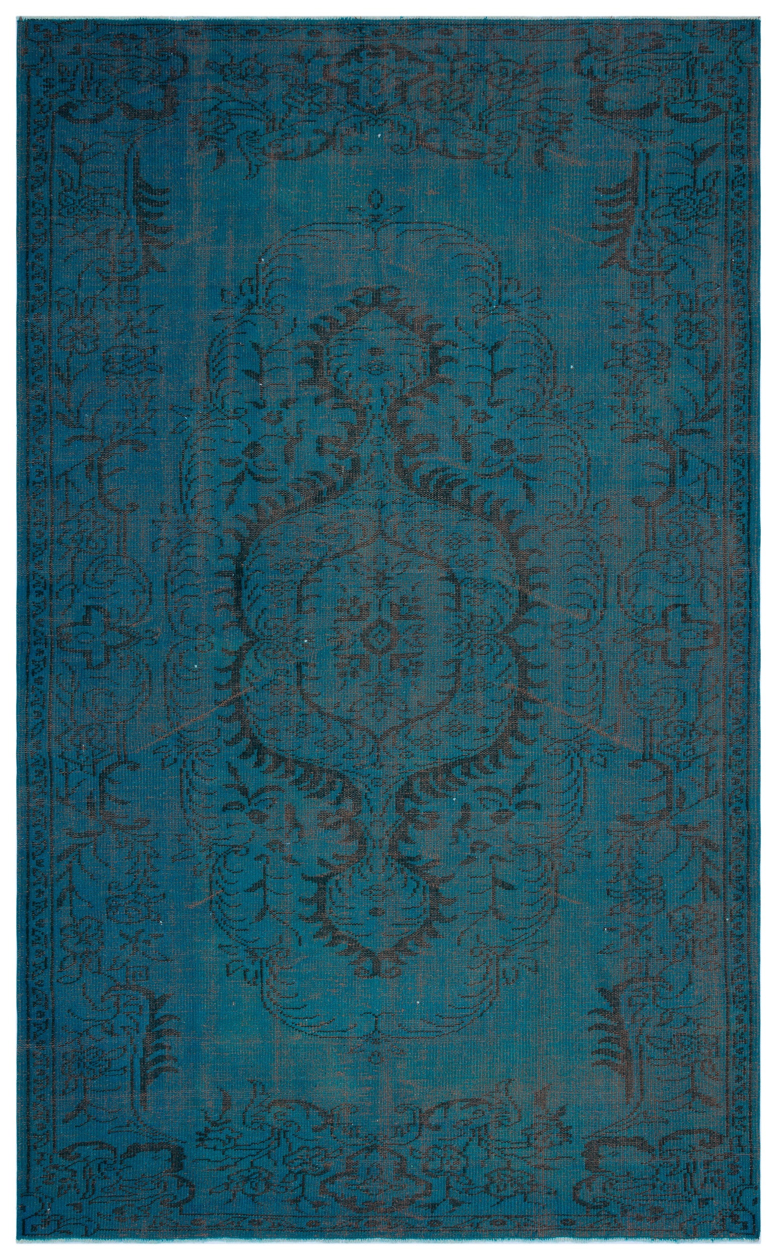 Turquoise  Over Dyed Vintage Rug 6'1'' x 9'9'' ft 185 x 298 cm