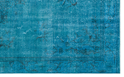 Turquoise  Over Dyed Vintage Rug 5'7'' x 8'12'' ft 169 x 274 cm