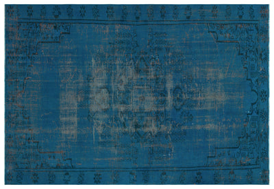 Turquoise  Over Dyed Vintage Rug 5'12'' x 8'2'' ft 182 x 249 cm