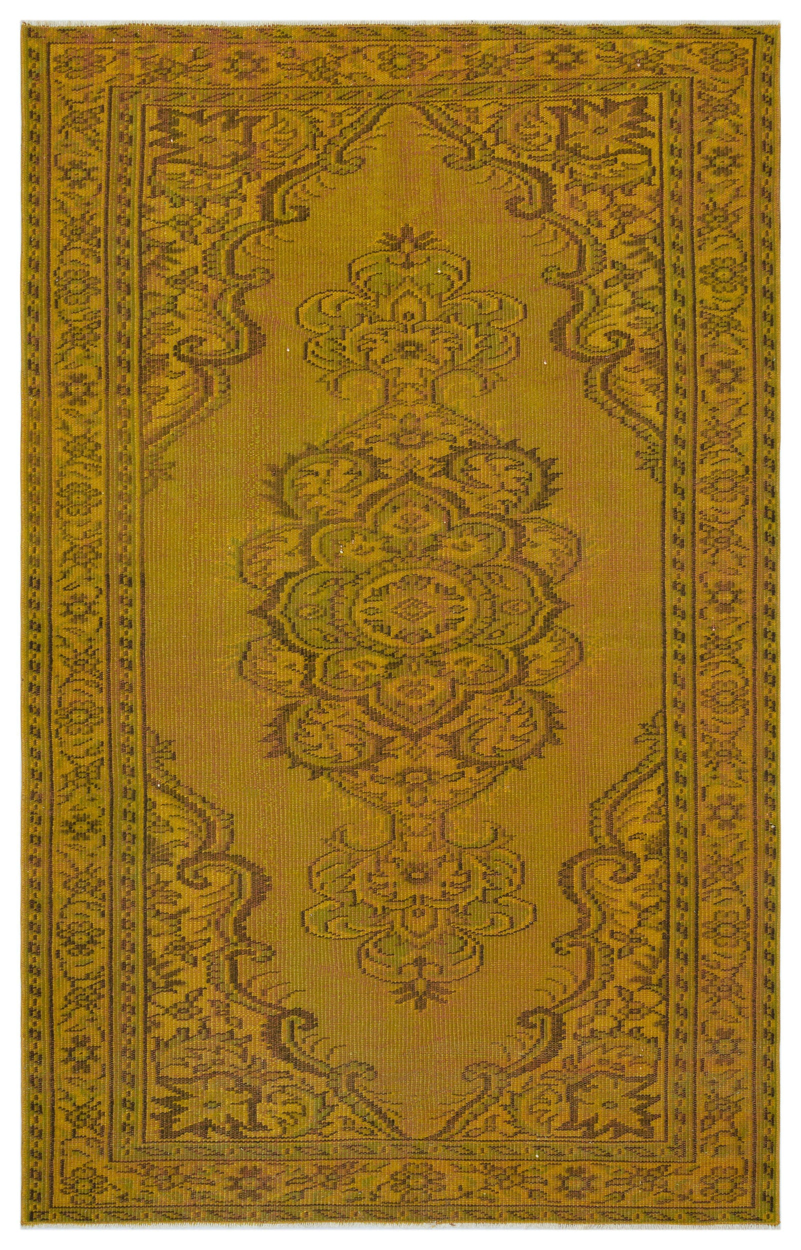 Yellow Over Dyed Vintage Rug 4'9'' x 7'8'' ft 145 x 234 cm
