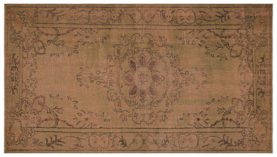 Brown Over Dyed Vintage Rug 5'5'' x 9'8'' ft 164 x 294 cm