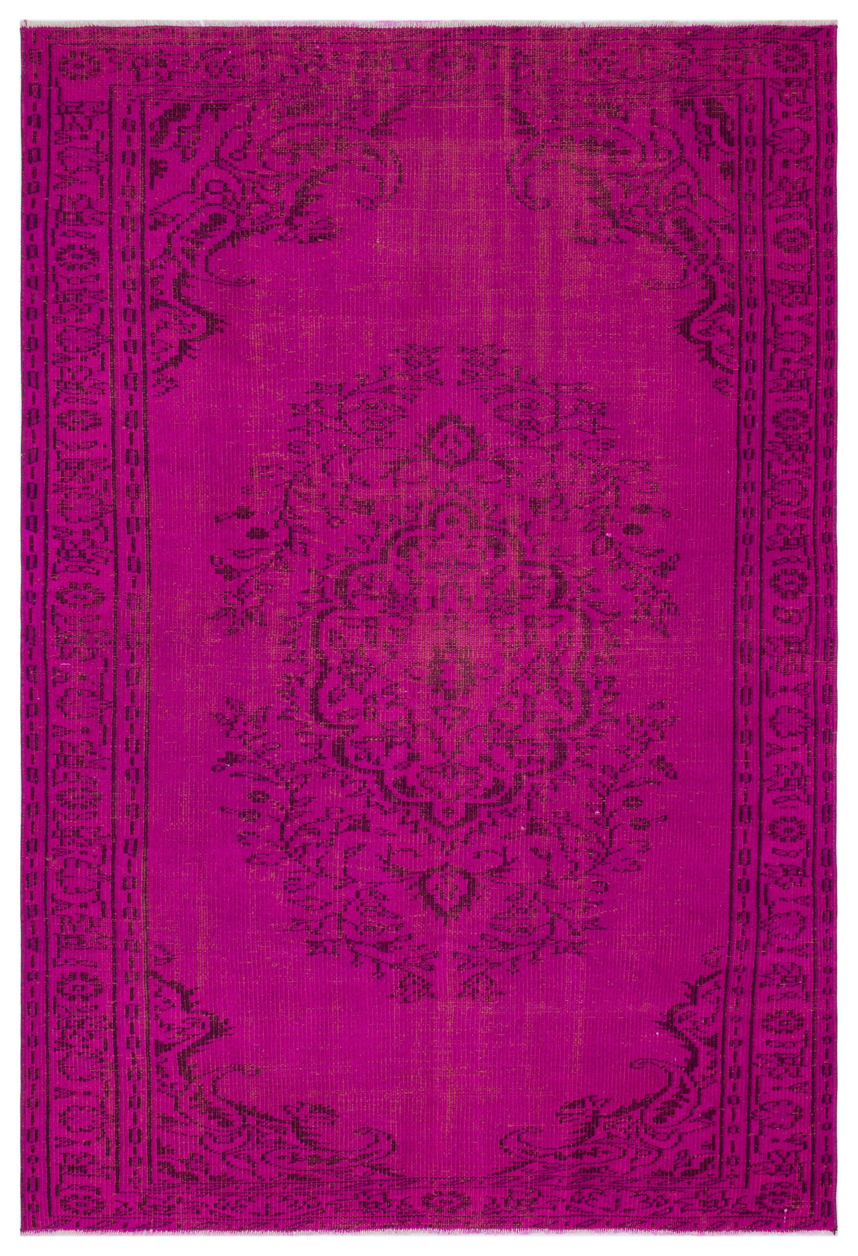 Fuchsia Over Dyed Vintage Rug 5'4'' x 8'0'' ft 163 x 245 cm