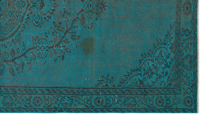 Turquoise  Over Dyed Vintage Rug 5'2'' x 9'0'' ft 157 x 275 cm
