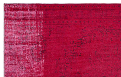 Red Over Dyed Vintage Rug 5'7'' x 9'1'' ft 170 x 277 cm