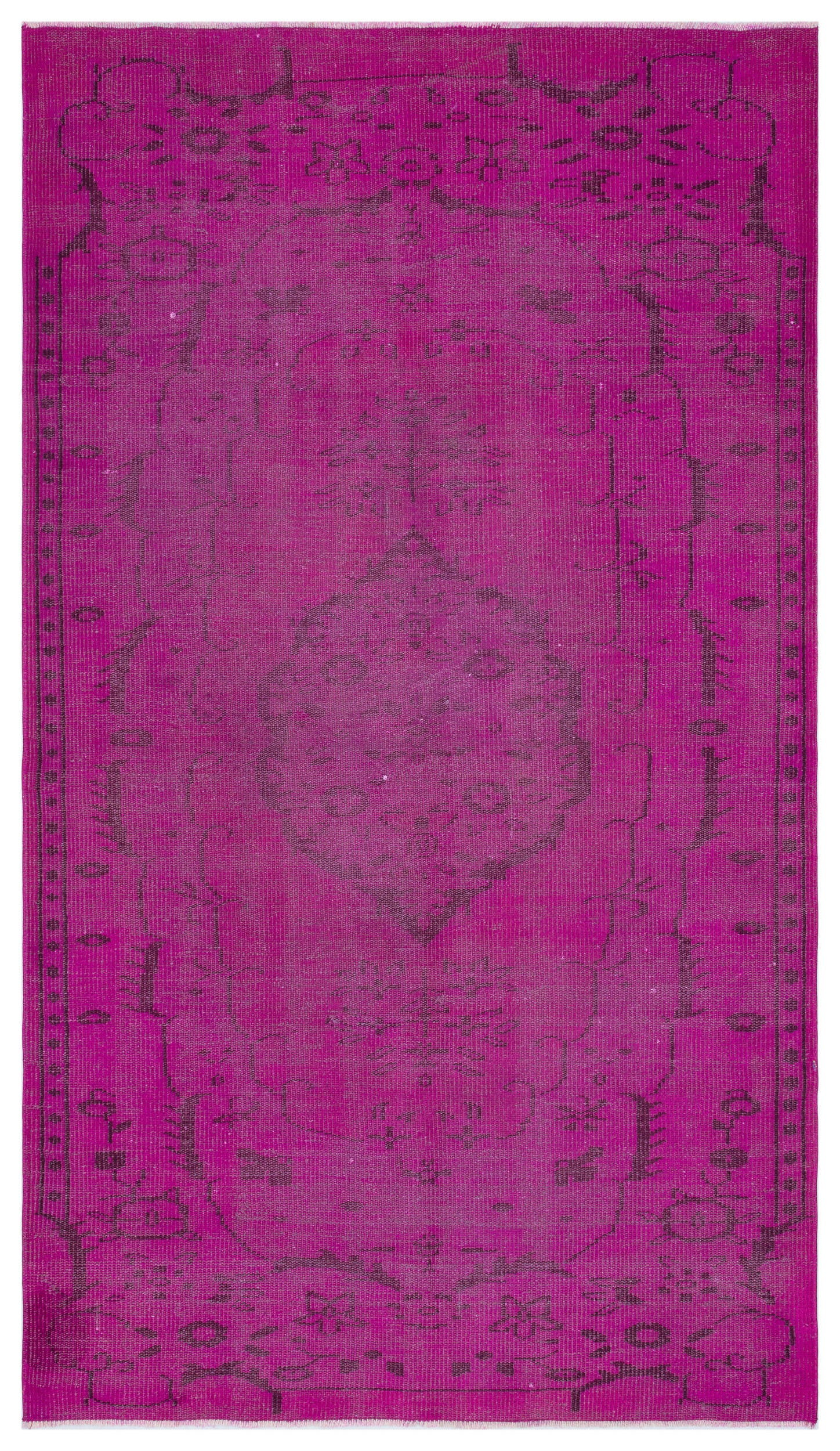Fuchsia Over Dyed Vintage Rug 4'9'' x 8'7'' ft 146 x 262 cm